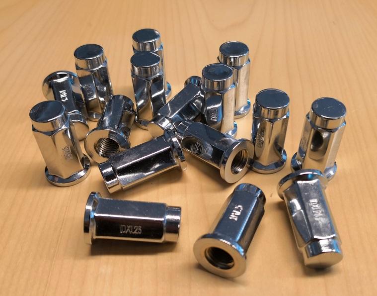ITP kromattu mutterisarja 10x1,25 mm flat base 90 asteen kulmassa olevalla tasaisella vastepinnalla 14 mm avaimelle