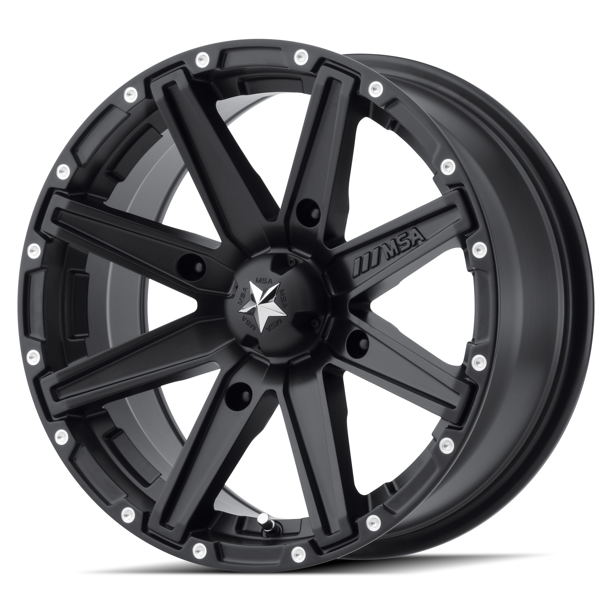 MSA 12x7 4x156 M33 Clutch Satin Black vannesarja Polaris