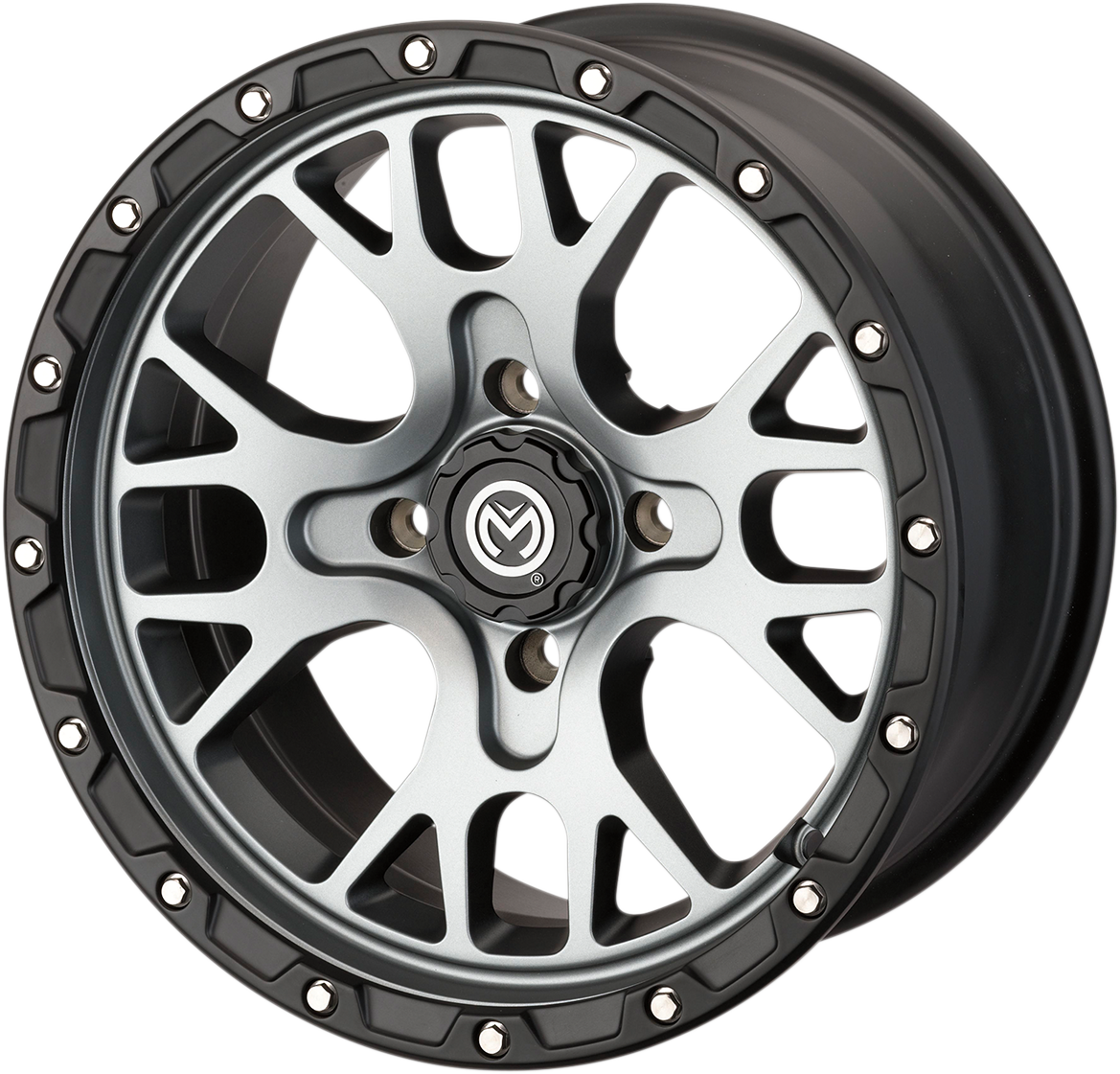 Moose 15x7 4/136 4+3 545X Satin Gray & Black Rocker vannesarja Can-Am