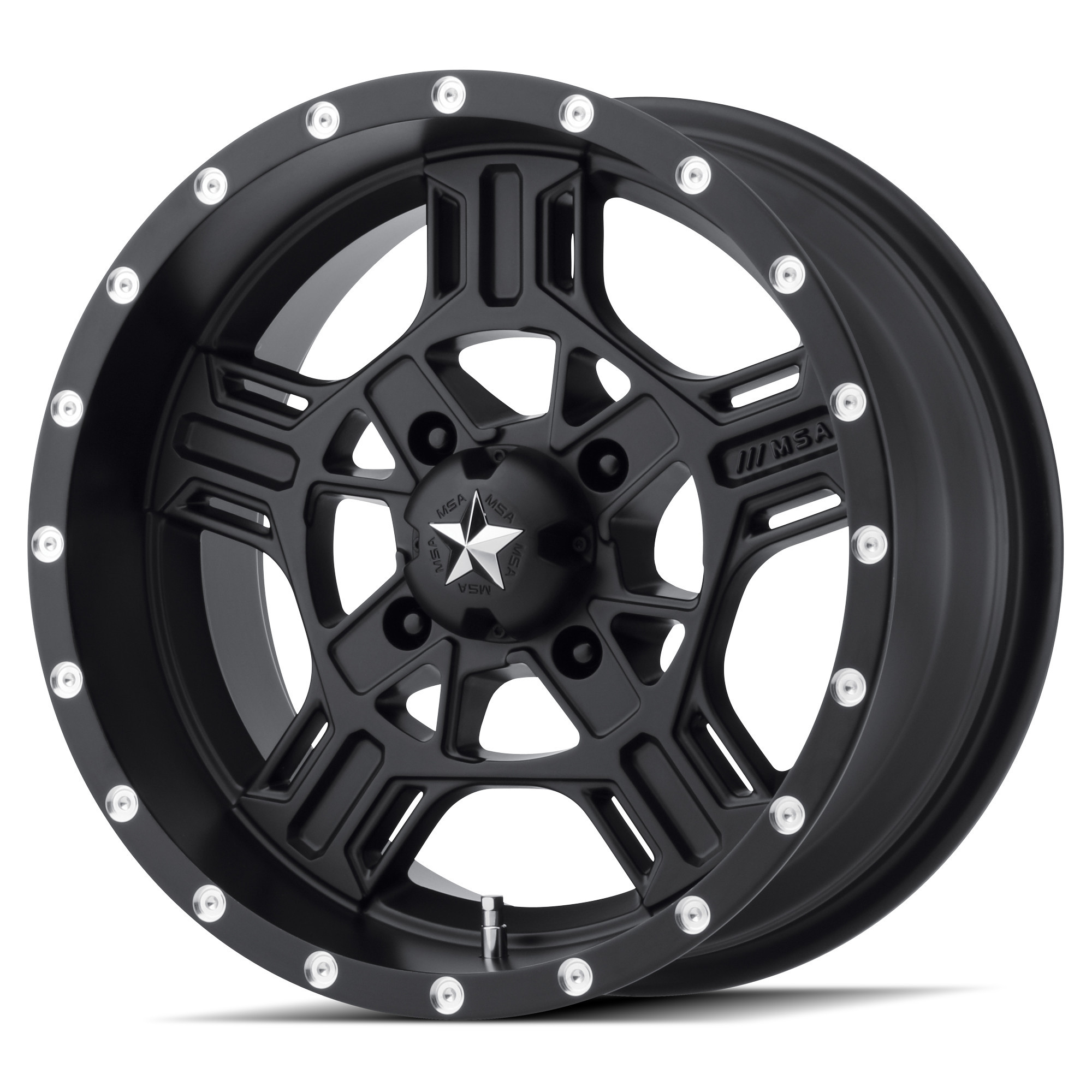 MSA 15x7 4x156 M32 Axe Satin Black vannesarja Polaris