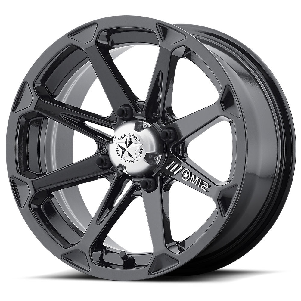 MSA 22x7 4x137 M12 Diesel Gloss Black vannesarja Can-Am